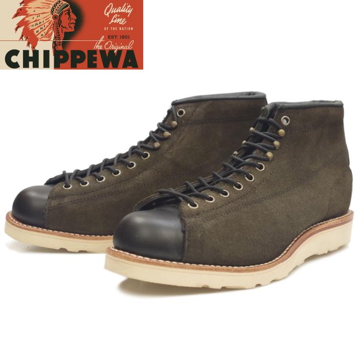 【SALE:50%OFF】チペワ ブーツ CHIPPEWA 1901M79 5-inch Two-tone Bridgeman [Chocolate Moss/Black] ラインマンブーツ メンズ モンキーブーツ 本革 ブリッジマン