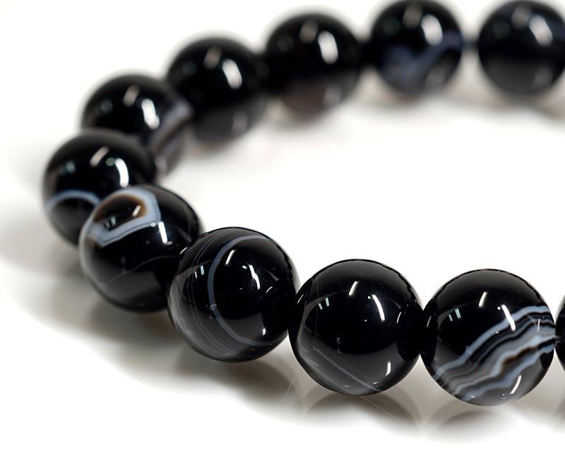 ブラック天眼石 (ゼブラタイプ) ブレスレット 12mm玉