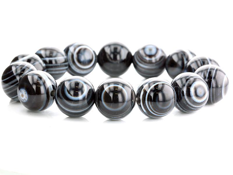 ブラック天眼石 ブレスレット 16mm玉 No.1