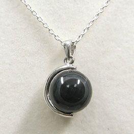 【GLANSPHERE】 ブラック天眼石 ネックレス (シルバーチェーン付)