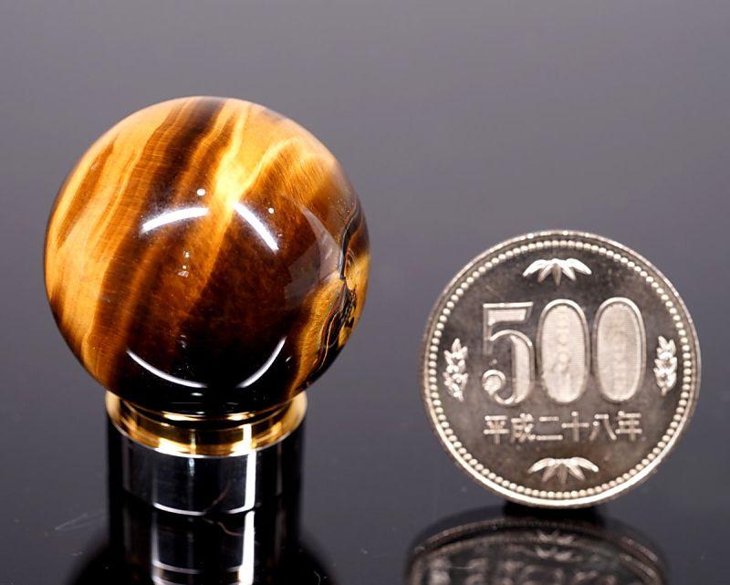 タイガーアイ 丸玉置物 30mm玉 (EARTHIST 台座付き)