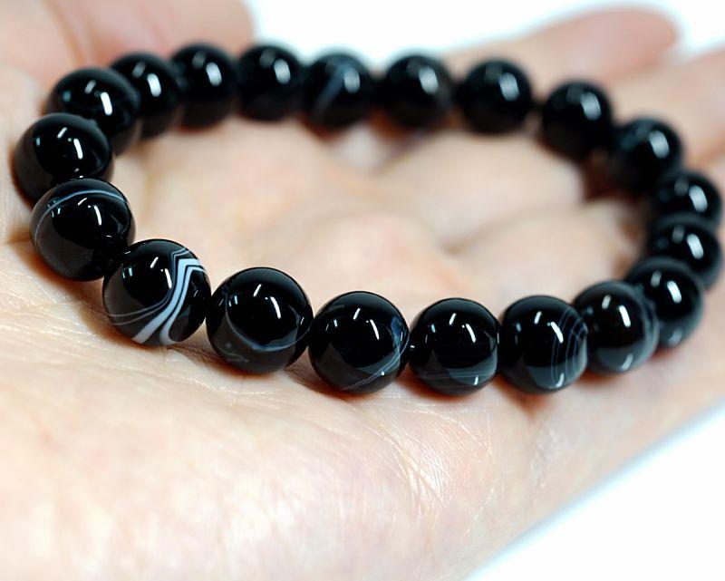 ブラック天眼石 (ゼブラタイプ) ブレスレット 10mm玉