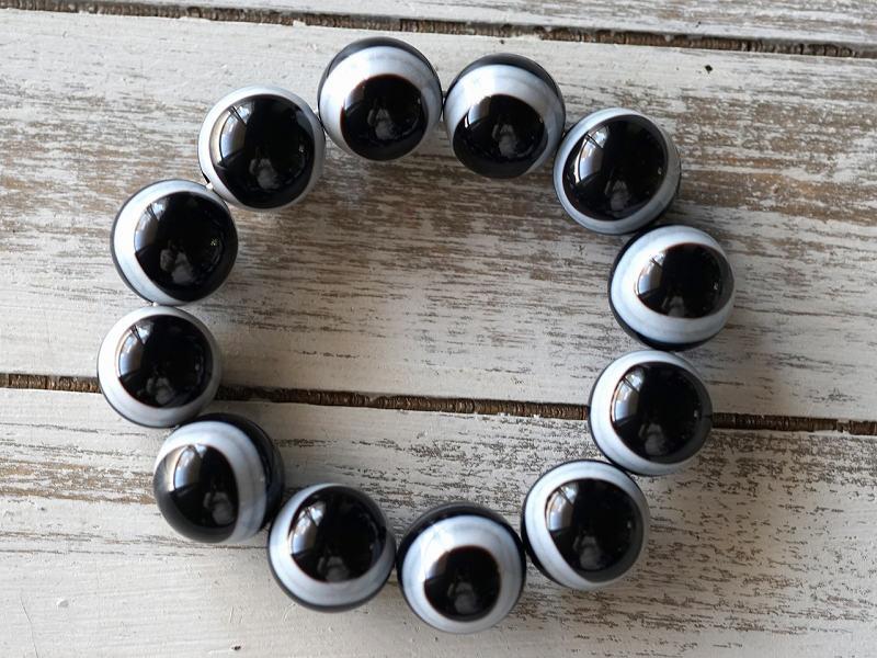 ブラック天眼石 ブレスレット 20mm玉 No.4