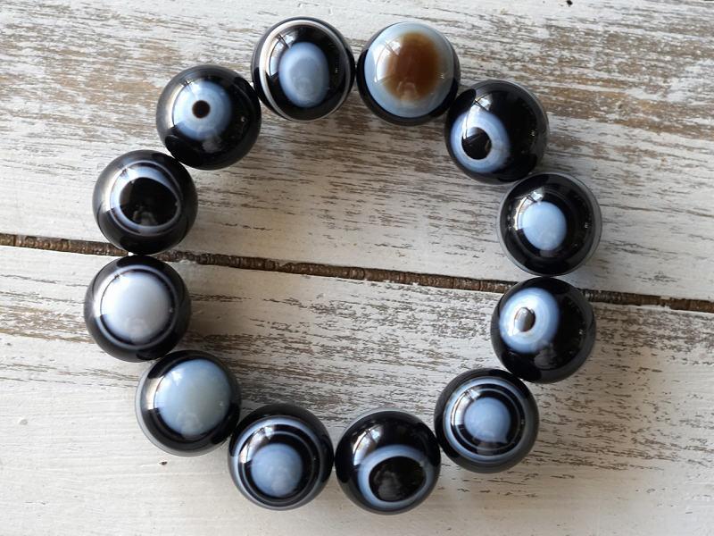 ブラック天眼石 ブレスレット 20mm玉 No.6