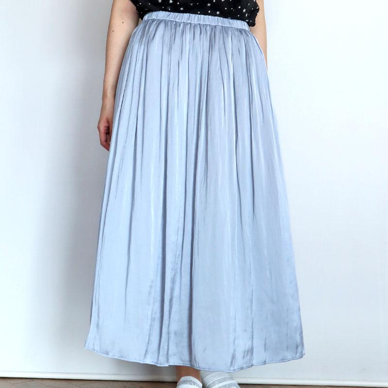 サテンギャザースカート/BLUE FRONCE 8435