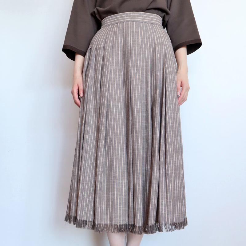 裾フリンジストライプフレアスカート/Mia 8363