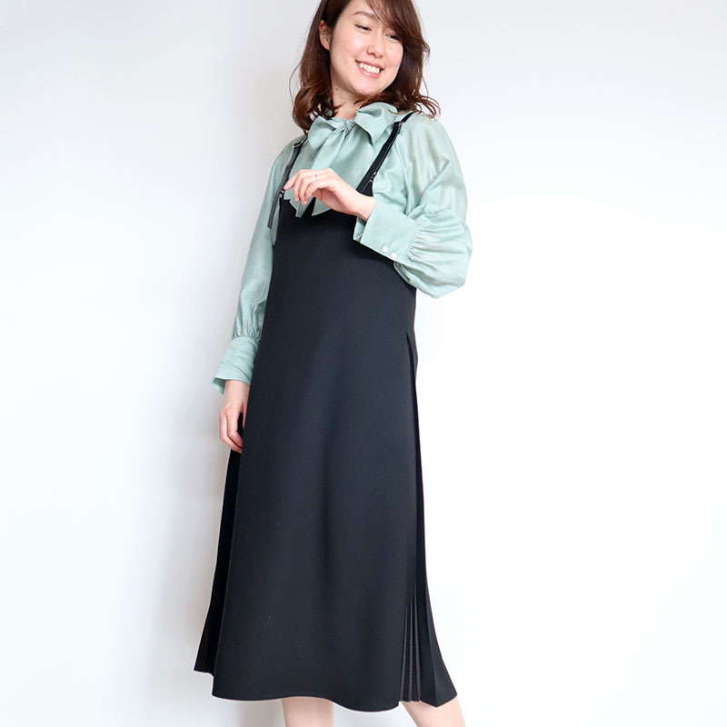 サイドプリーツジャンバースカート/BLUE FRONCE 8290