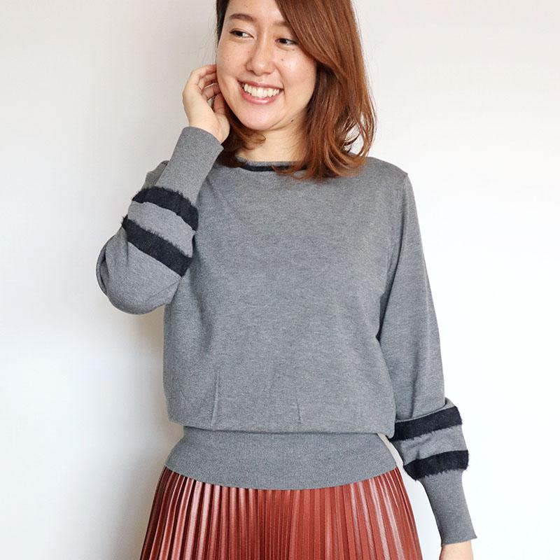 お袖 シャギーボーダーニット/CHILLEA 8203