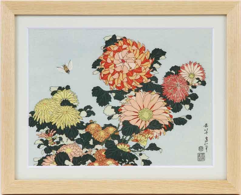 花鳥図【菊にあぶ】/葛飾北斎