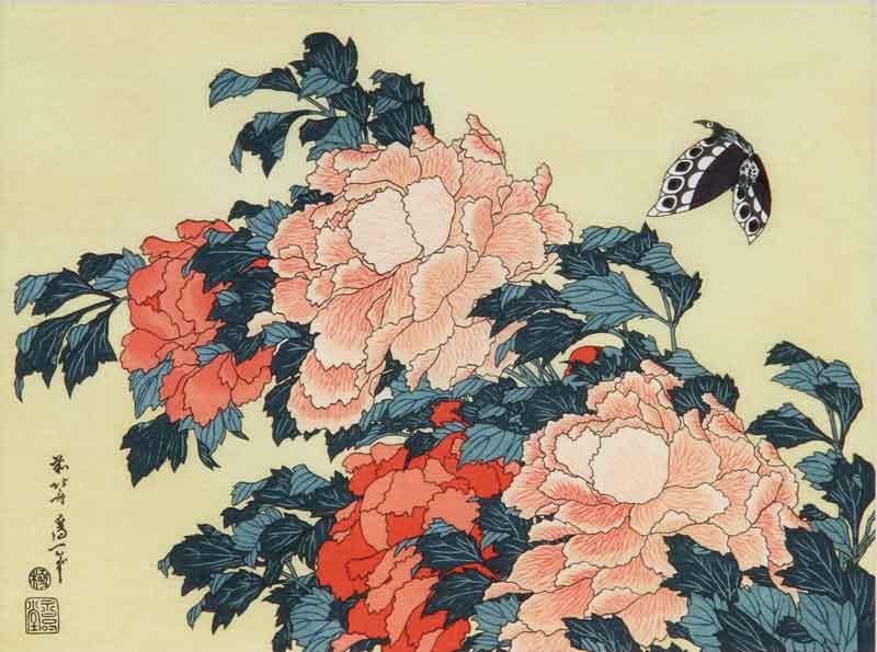 花鳥図【牡丹に蝶】/葛飾北斎