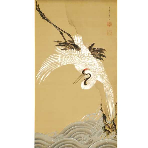 白鶴図(浪に鶴/松に鶴セット)/伊藤若冲
