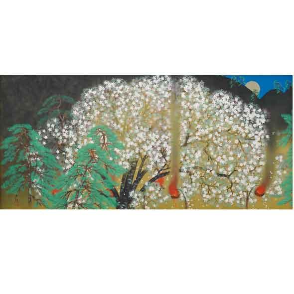 夜桜(左隻)/横山大観