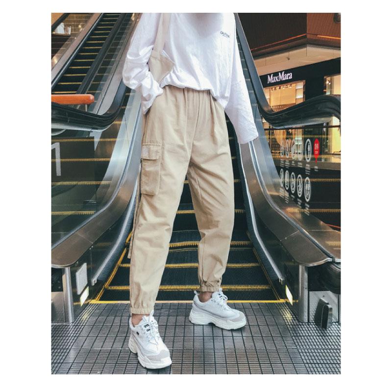 カーゴパンツ レディース ストリート デザイン 刺繍 ロングストラップ 美脚