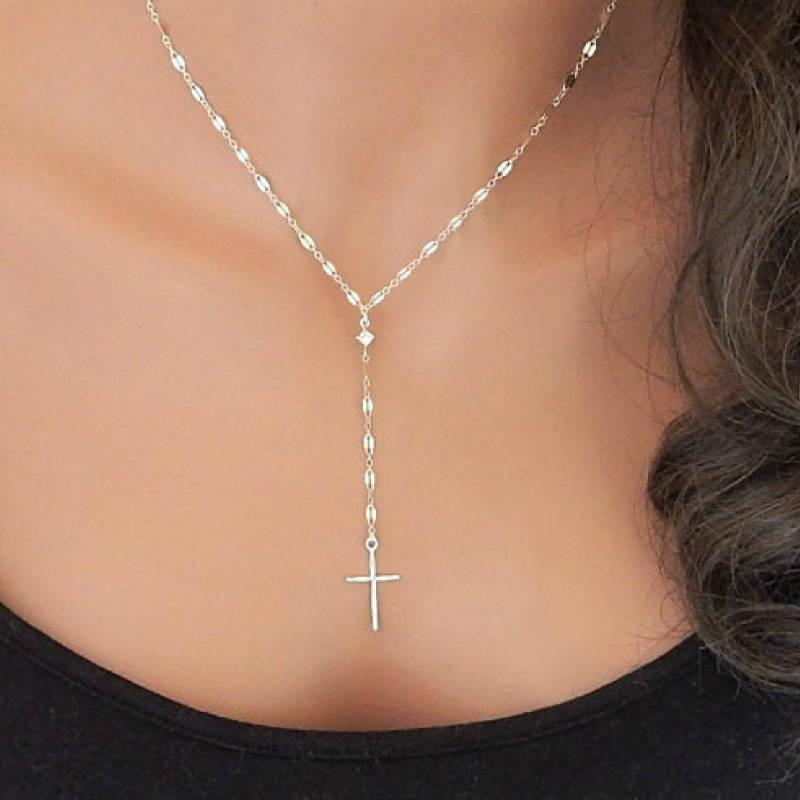 クロス ネックレス レディース ジルコニア付 ゴールド シルバー クロスペンダント 十字架