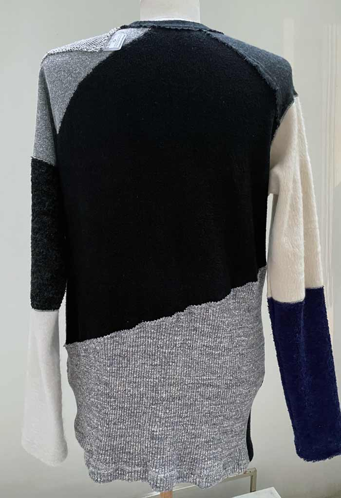 """MT2927 14 MIX KNIT PATCHWORK L/S  """"with CS Brooch"""" #09 WHTxBLK"""