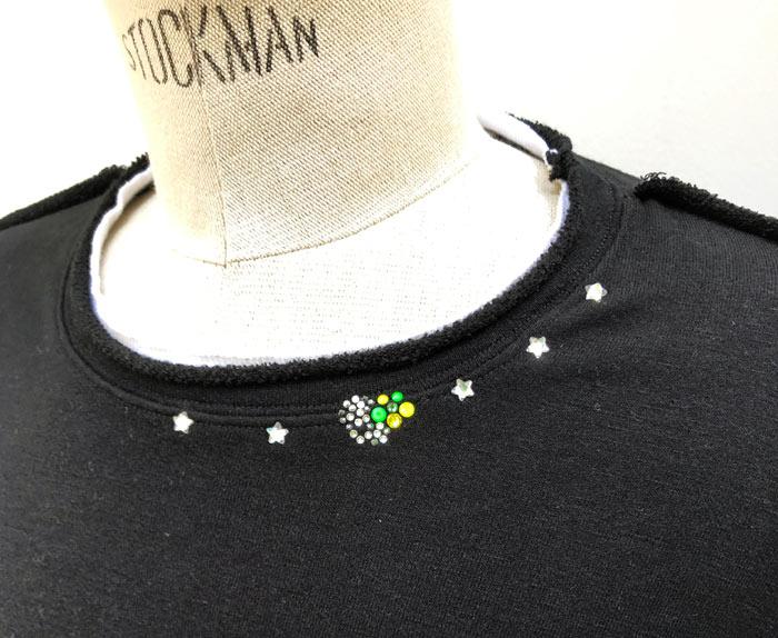 "MT2810  CRES Knit ""5Stars HibiSkull""Crew Neck T-Shirt #09 BLACK"