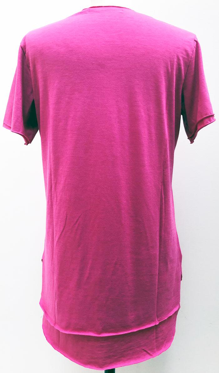 "MT2779 [再入荷] Cotton/Silk Two Layered ""CS Swarovski"" V-Neck S/S TEE #24 Pink"