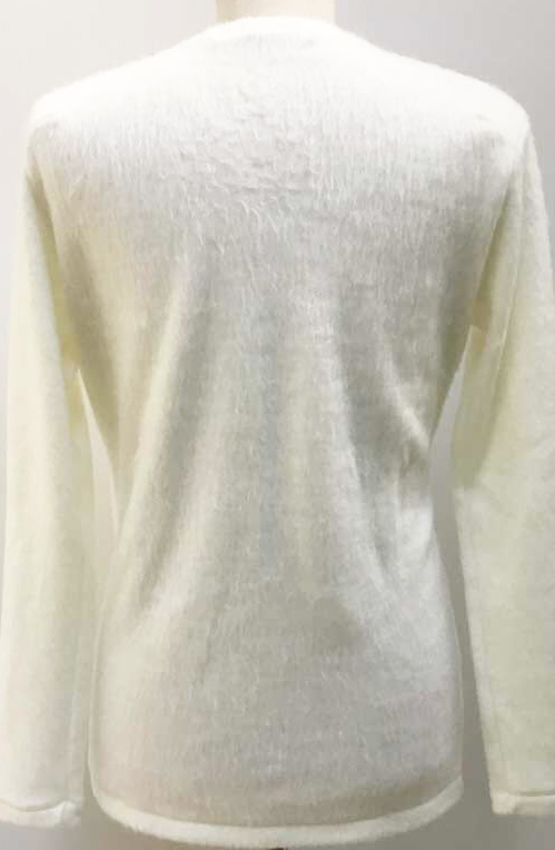 "MT2754 Noble Shaggy Knit""3STAR_FCTM""V-Neck Long Sleeve P/O #01 White"