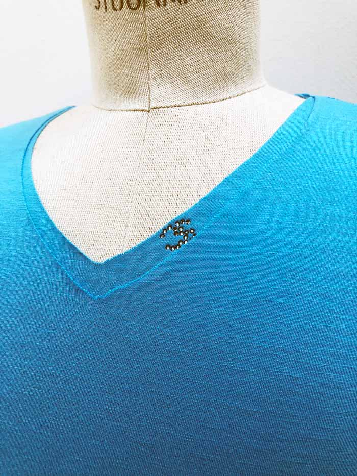 "MT2779 [再入荷] Cotton/Silk Two Layered ""CS Swarovski"" V-Neck S/S TEE #86 Turquoise"
