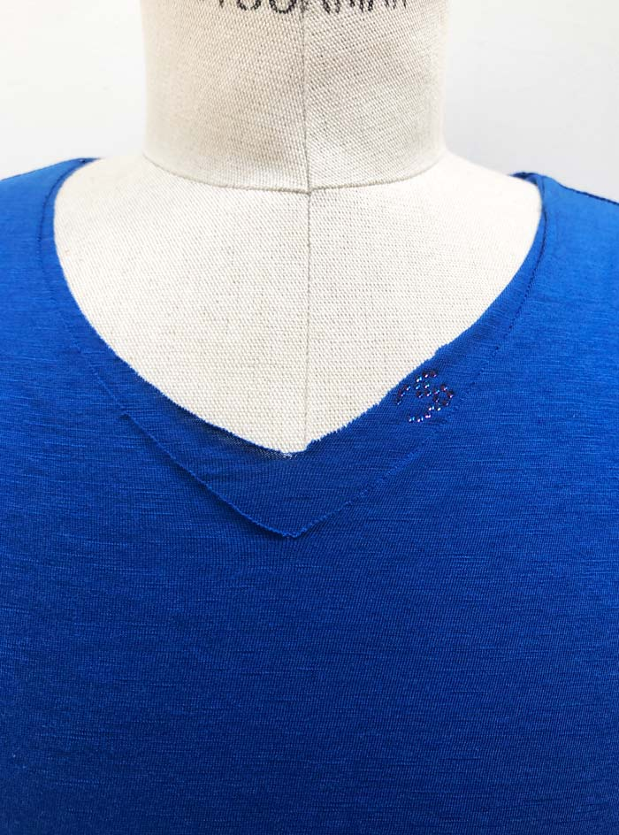 "MT2779 [再入荷] Cotton/Silk Two Layered ""CS Swarovski"" V-Neck S/S TEE #85 Royal Blue"