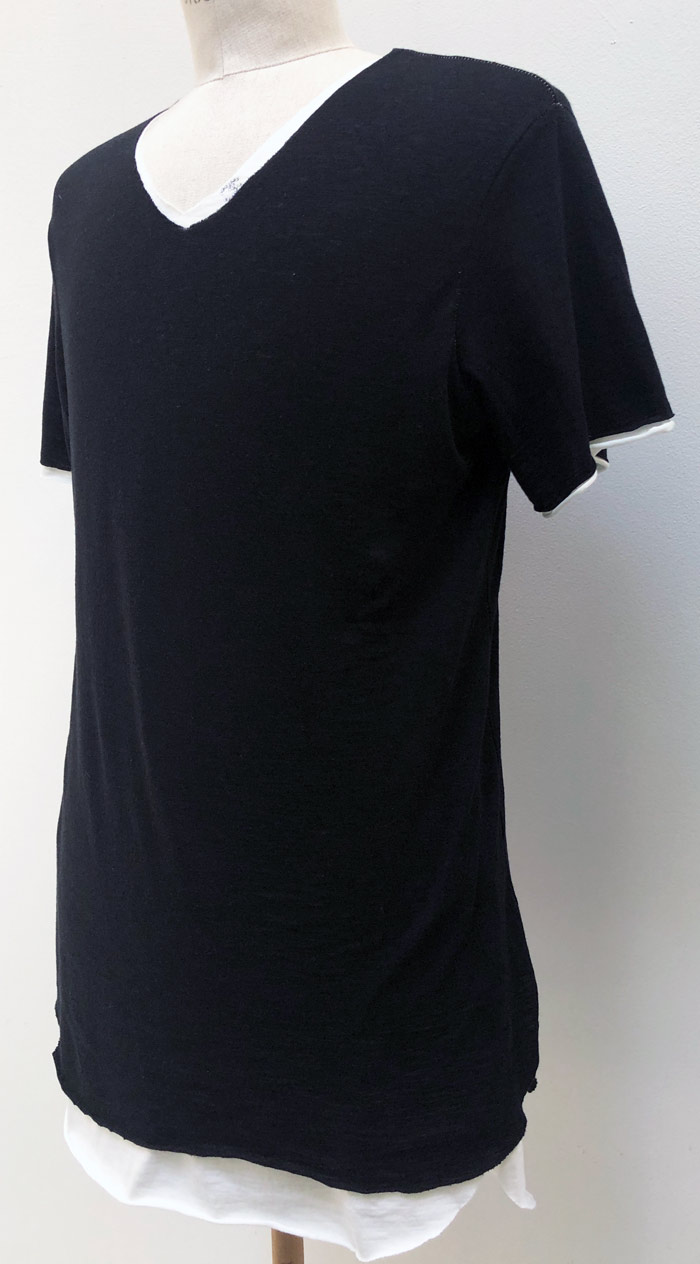 "MT2779 Cotton/Silk Two Layered ""CS Swarovski"" V-Neck S/S TEE  #09W Black & White"