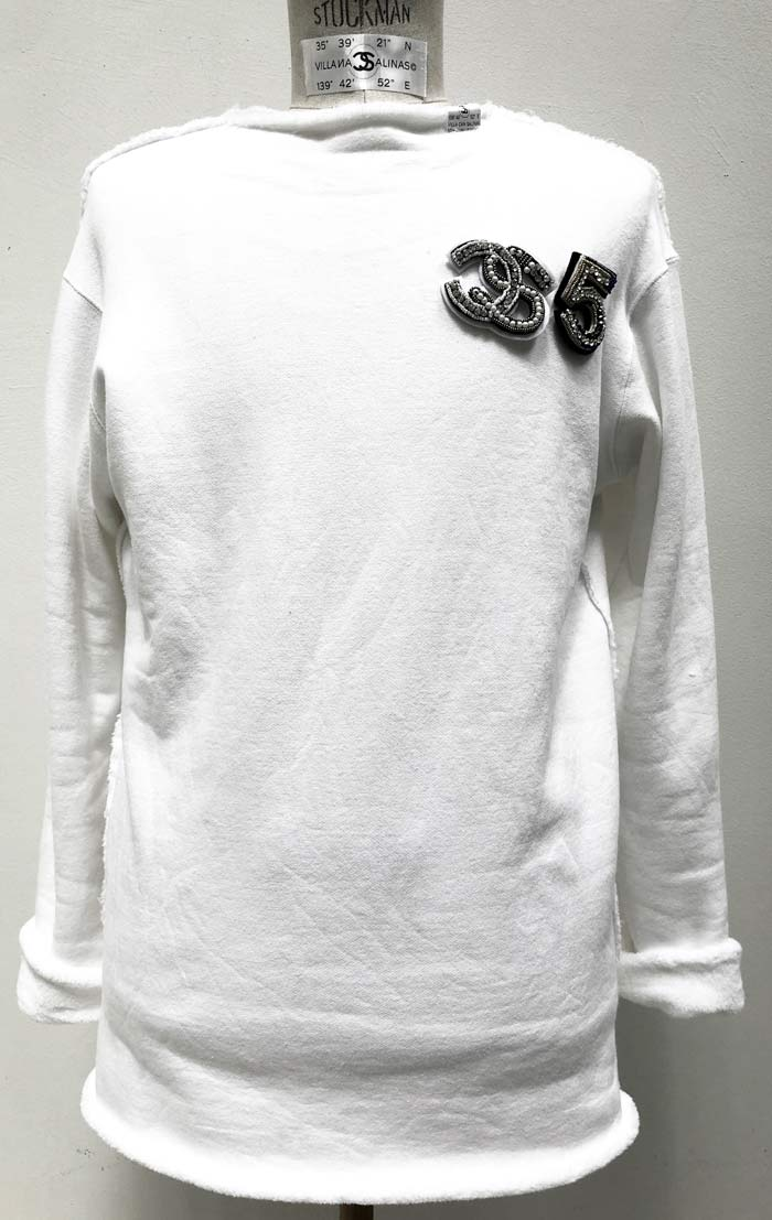 "MT2853 Smooth Boa Sweat ""5Anniversary CS・5"" BROOCH L/S SHIRT   #01 WHT"