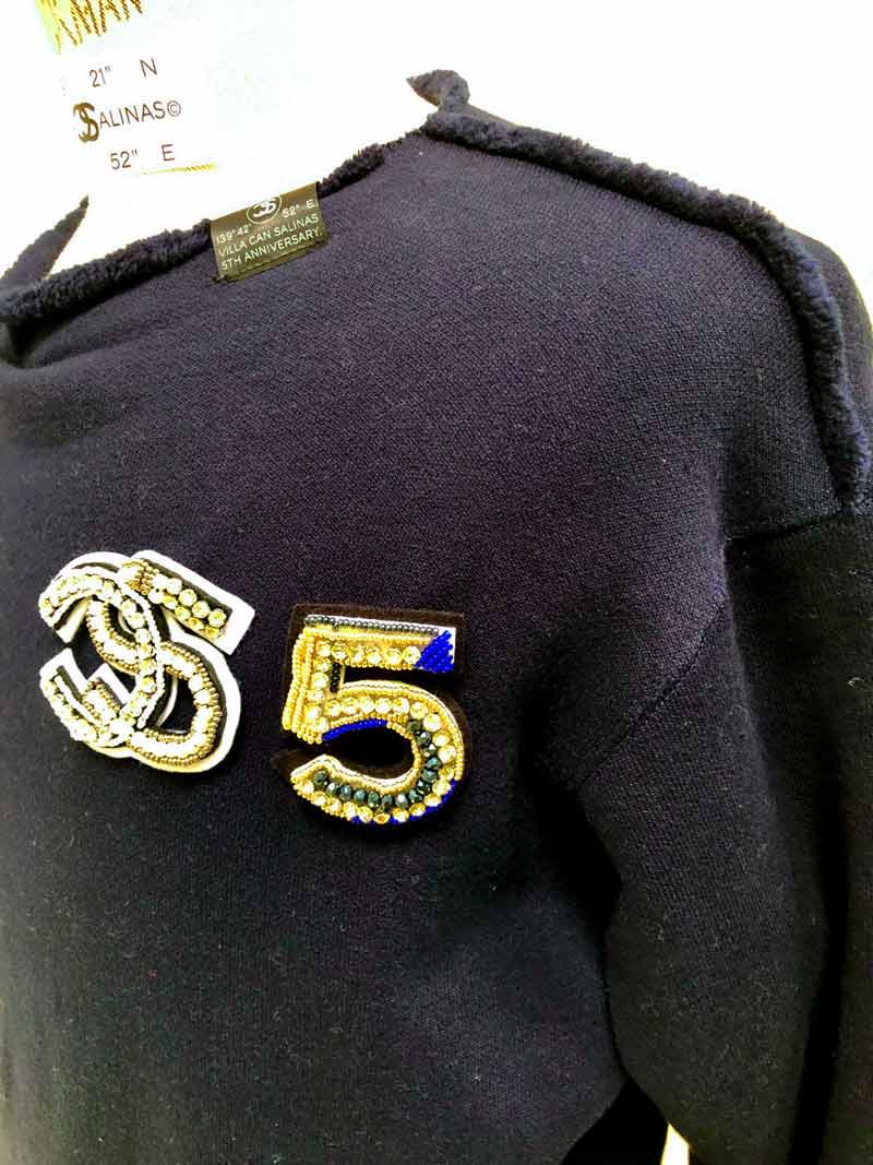 "MT2853 【再入荷】 Smooth Boa Sweat ""5Anniversary CS・5"" BROOCH L/S SHIRT   #87 NAVY"