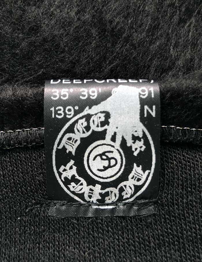 "MT2860 ""Reverse Shaggy _M Crown Emb & HibiSkull Swaro"" V-Neck L/S #09 BLK"