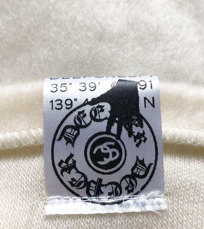 "MT2860 ""Reverse Shaggy _M Crown Emb & HibiSkull Swaro"" V-Neck L/S #01 WHT"