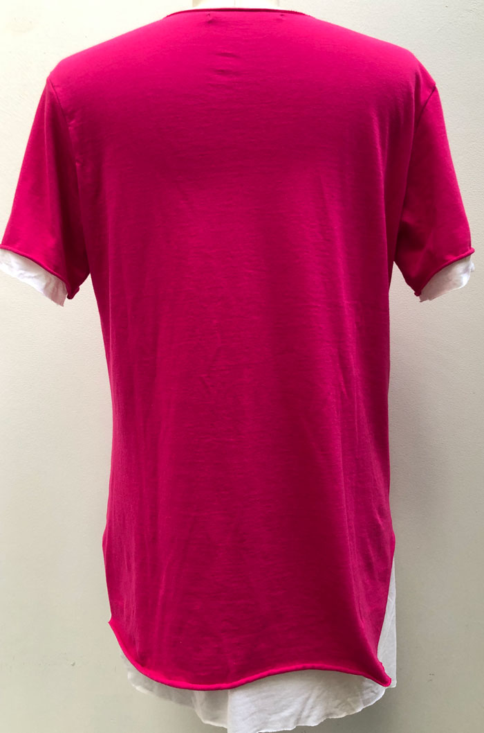 MT2805 30/_Jersey x R/L/Silk Layered Crystal V-Neck S/S TEE  #24 Pink x White