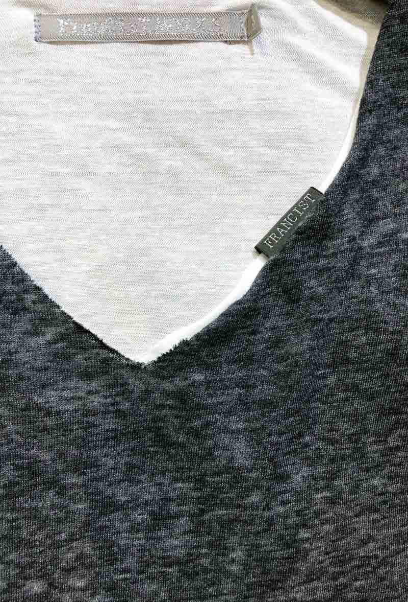 MT2804 【再入荷】 C/Gauze x R/L/Silk Layered  V-Neck S/S TEE  #19 Charcoal x White