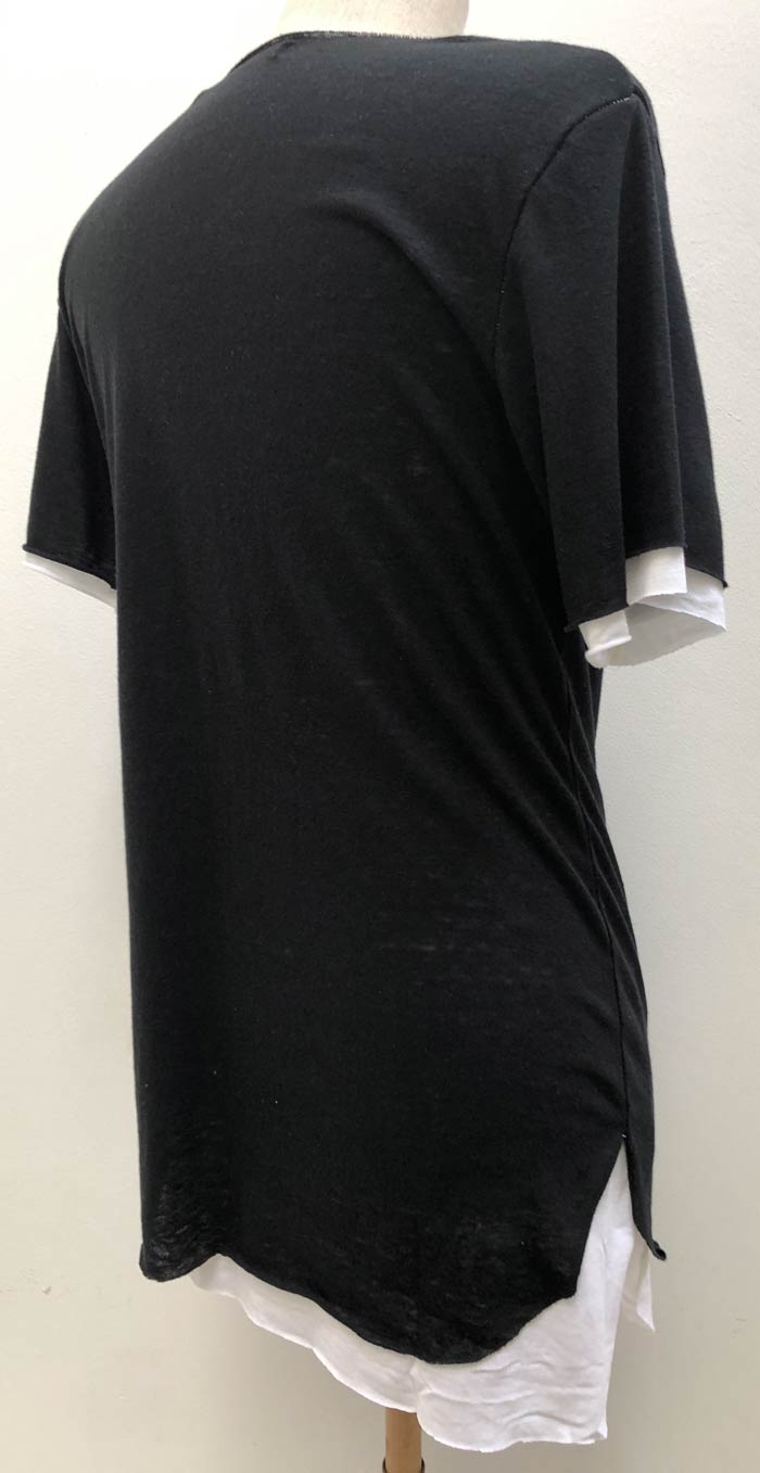 MT2804 【再入荷】 C/Gauze x R/L/Silk Layered  V-Neck S/S TEE  #09 Black x White