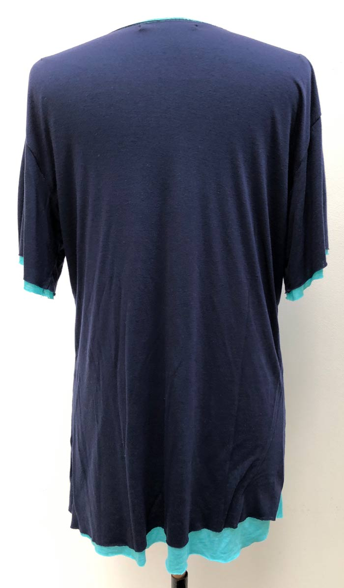 MT2807 R/L/Silk Layered Love HS V-Neck S/S TEE  #87 Navy x Turquoise
