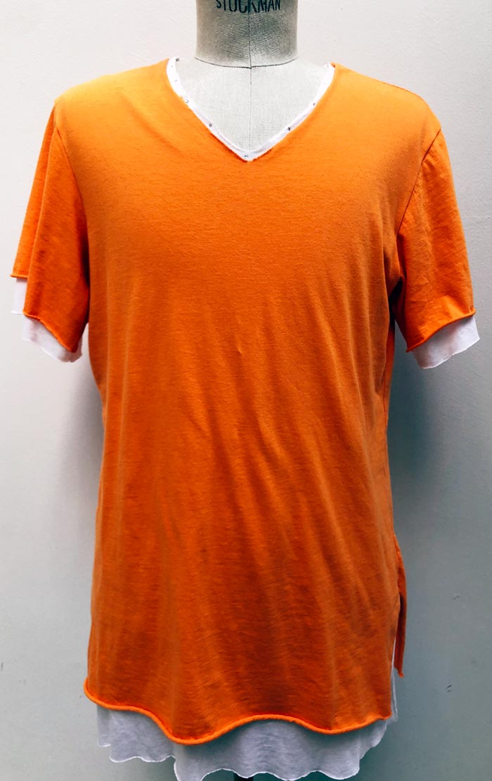 MT2805 30/_Jersey x R/L/Silk Layered Crystal V-Neck S/S TEE  #44 Orange x White