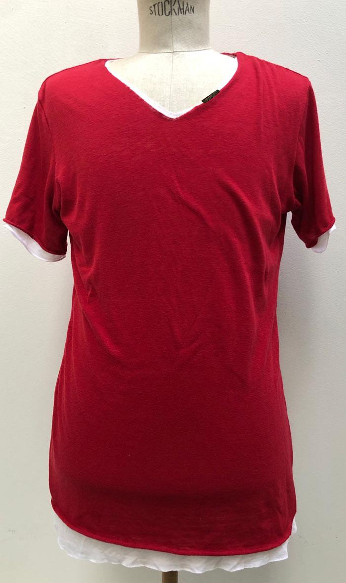 MT2804 C/Gauze x R/L/Silk Layered  V-Neck S/S TEE  #34 Red x White