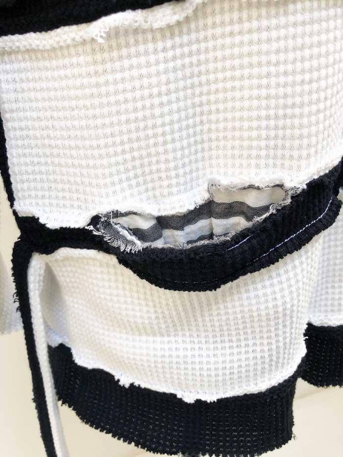 MC2782 Gauze Waffle Cut-Off Border Back Wing PO #01 White x Black