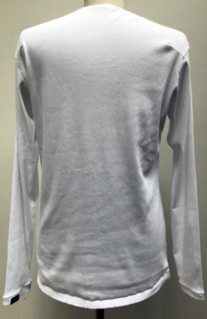 MT2801 Supima Cotton Rib Teleco HibiSkull 5Stars V-Neck Long Sleeve Shirt #01 White