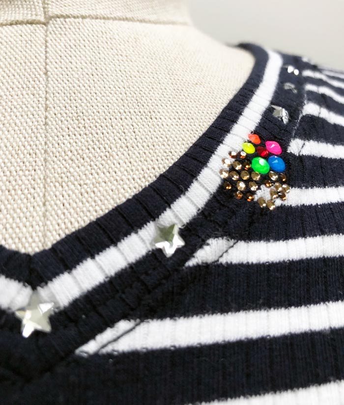 MT2801 Supima Cotton Rib Teleco HibiSkull 5Stars V-Neck Long Sleeve Shirt #09 Navy x White Border