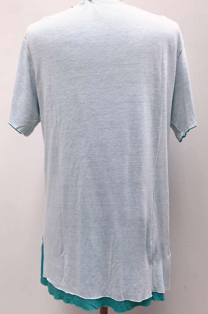 MT2807 R/L/Silk Layered Love HS V-Neck S/S TEE  #01 White x Turquoise