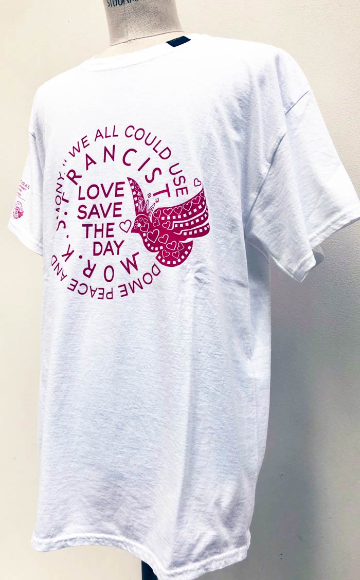 """MT2840 US Body : """"LOVE SAVES THE DAY"""" T Shirt  #01 White"""