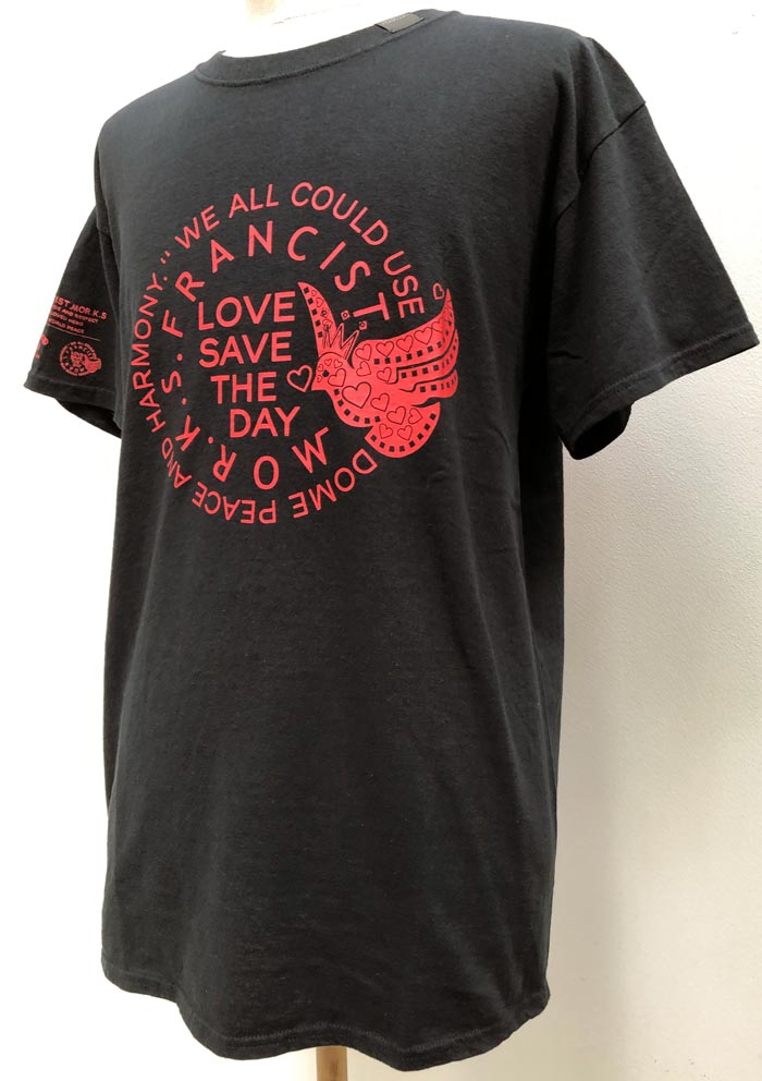 """MT2840 US Body : """"LOVE SAVES THE DAY"""" T Shirt  #09 Black"""