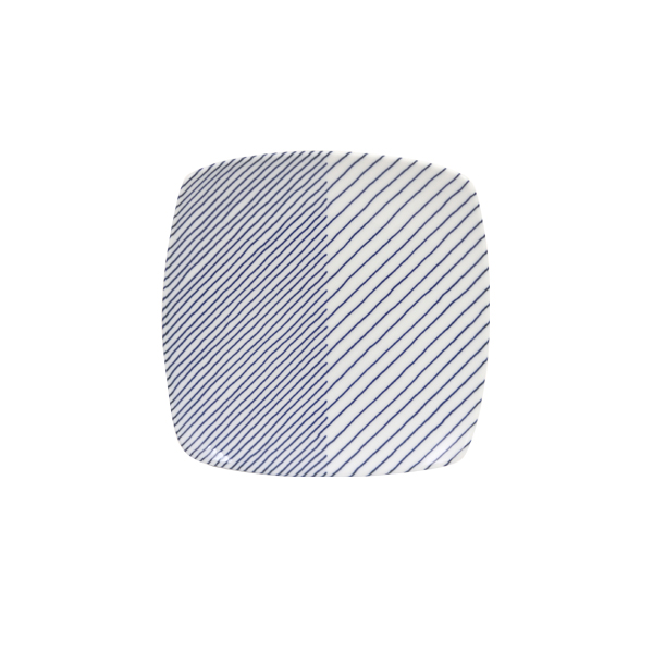 重ね縞 反角中皿(白山陶器)