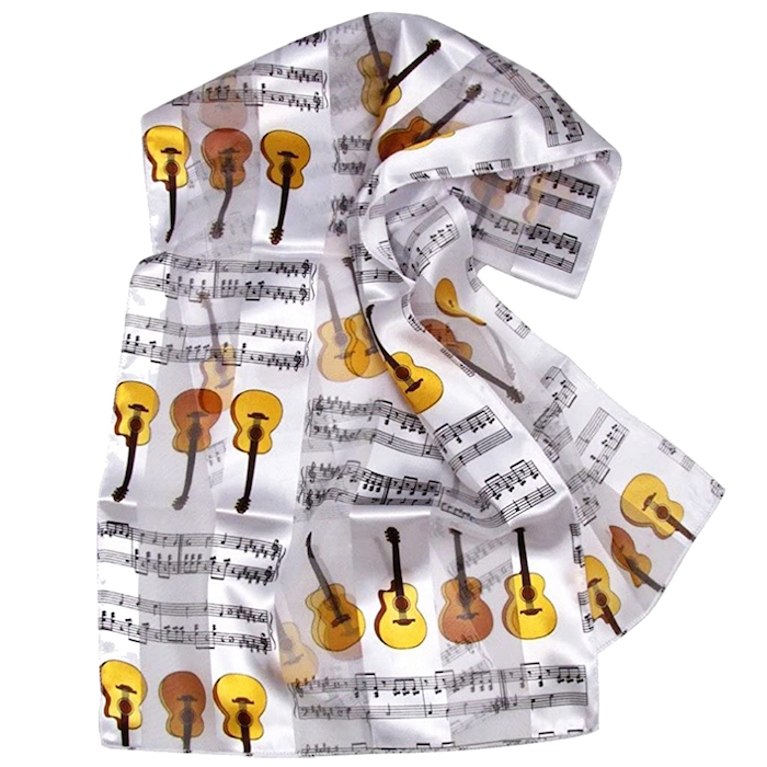 "ギター柄 音符柄 スカーフ SCARF S/S GUITARS/NOTES WHITE W/BROWN 14""X 60"""
