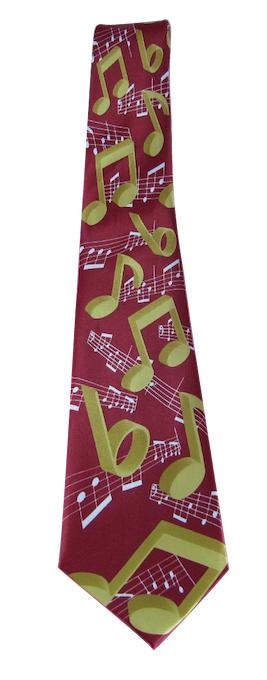 ネクタイ 楽譜 レッド 音楽雑貨 ミュージックギフト TIE Notes Red