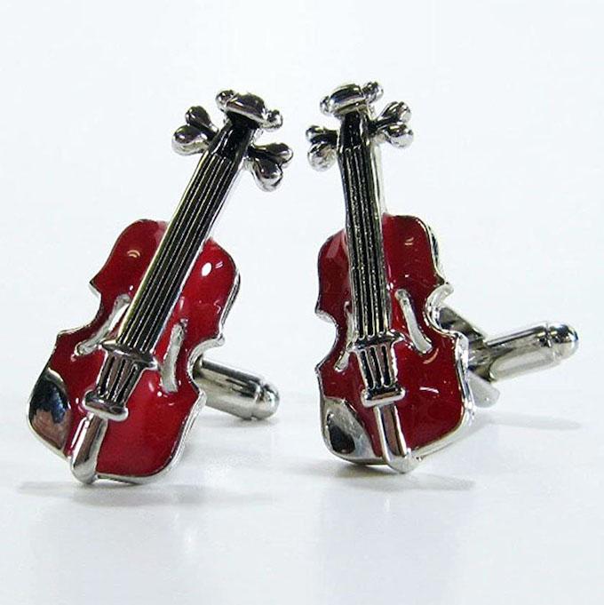 カフスボタン cufflinks バイオリン ブラウン