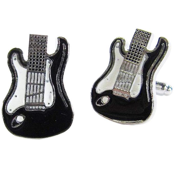 カフスボタン cufflinks エレキギター ボディ ブラック