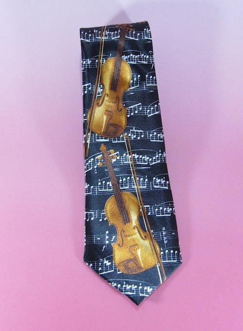 ネクタイ バイオリン ブラック 音楽雑貨 ミュージックギフト TIE Violin Black