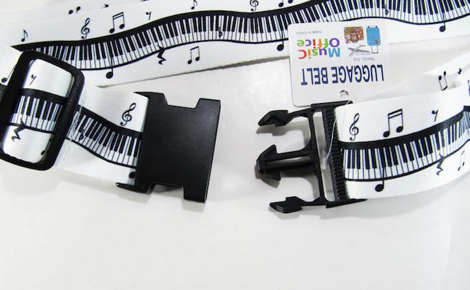 Music Office LUGGAGE BELT ピアノ キーボード柄 スーツケースベルト 旅行カバンベルト