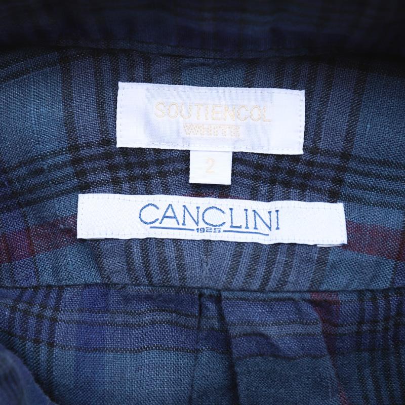SOUTIENCOL RE-MAKE POLO CANCLINI LINEN Indigo CHECK/スティアンコル リメイクポロ  211205