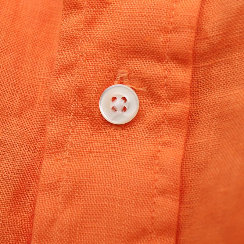 SOUTIENCOL ReMake Polo H Orange CANCLINI LINEN 後染め/スティアンコル  リメイクポロ  半袖